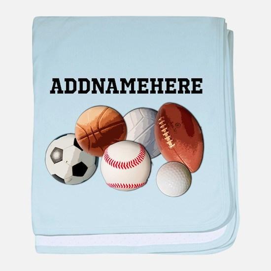 Sports Balls, Custom Name baby blanket