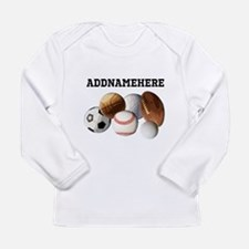 Sports Balls, Custom Name Long Sleeve Infant T-Shi