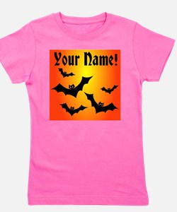 Personalized Halloween Bats Girl's Tee