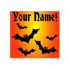Personalized Halloween Bats 5x7 Flat Cards