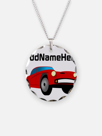 Sports Car, Custom Name Necklace Circle Charm
