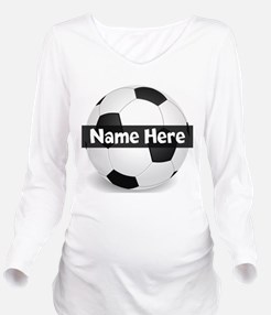 Personalized Soccer Ball Long Sleeve Maternity T-S