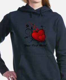 Personalized Text Hearts Hooded Sweatshirt