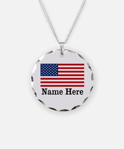 Personalized American Flag Necklace