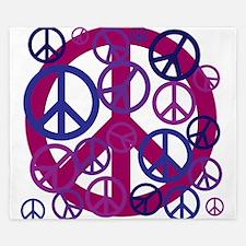 Purple Peace Sign King Duvet