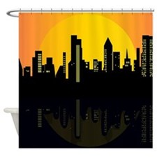 Sunset cityscape on the river Shower Curtain