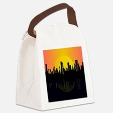 Sunset cityscape on the river Canvas Lunch Bag
