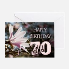 70th birthday card with magnolias Greeting Cards