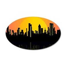 Sunset cityscape on the river Wall Decal