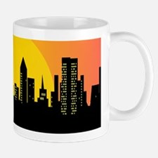 Sunset cityscape on the river Mugs