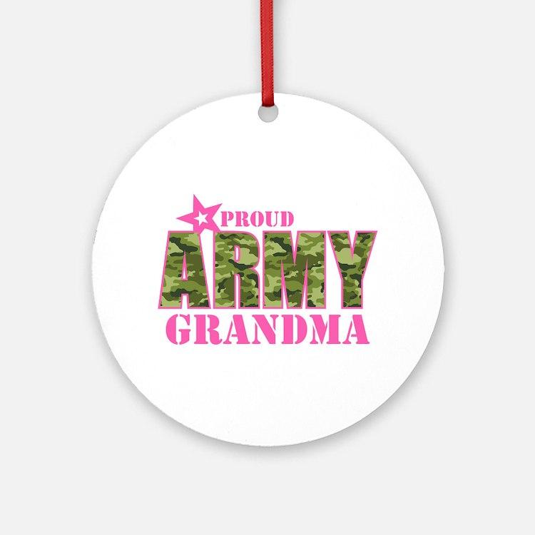 Camo Proud Army Grandma Ornament (Round)