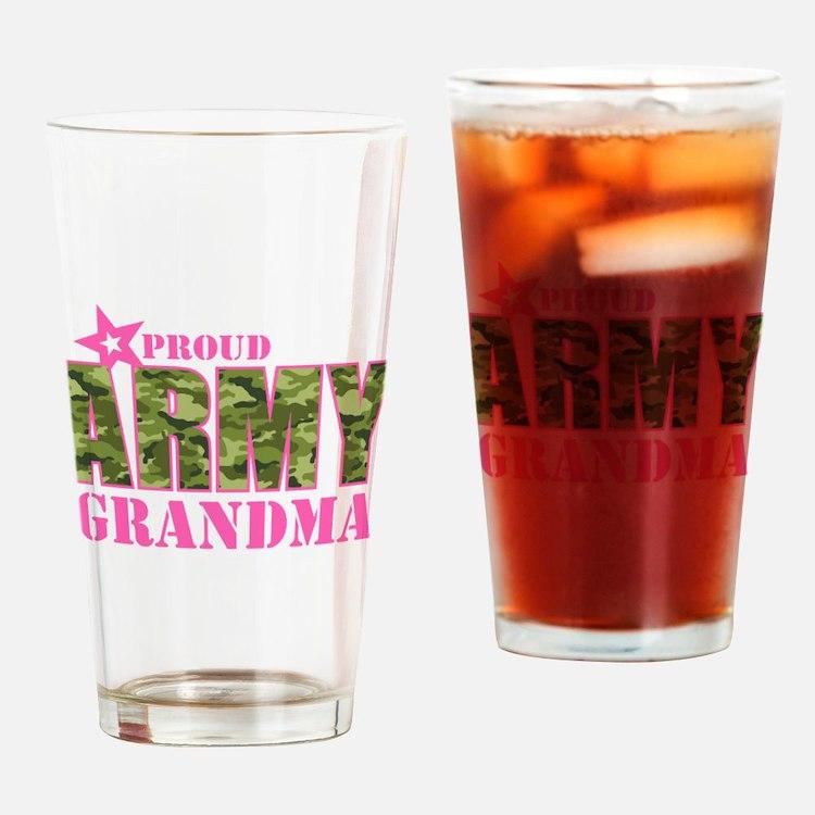 Camo Proud Army Grandma Drinking Glass