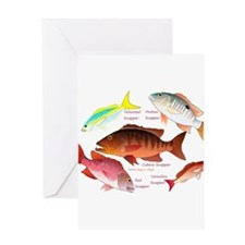 5 snappers Greeting Cards