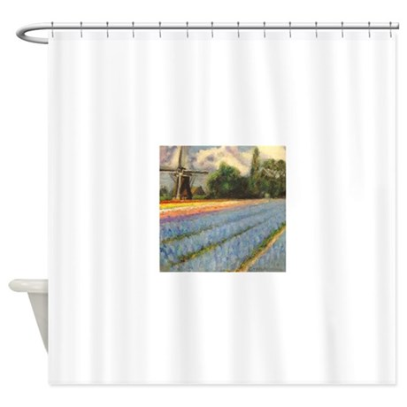 Holland Tulip Time Flowers Windmill Shower Curtain