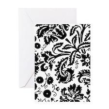 Black damask Greeting Cards