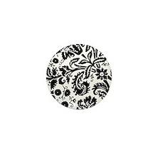 Black damask Mini Button (100 pack)