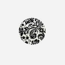 Black damask Mini Button