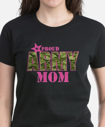 Camo Proud Army Mom Women's Dark T-Shirt
