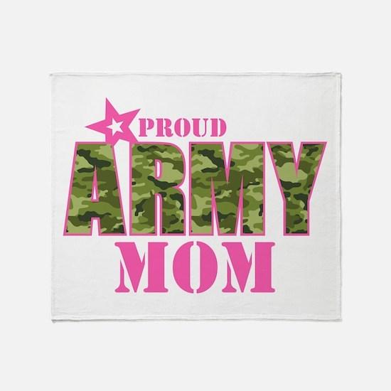 Camo Proud Army Mom Throw Blanket