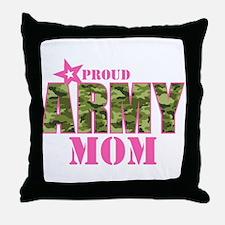 Camo Proud Army Mom Throw Pillow