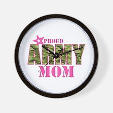 Camo Proud Army Mom Wall Clock