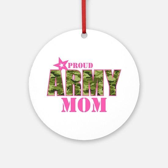 Camo Proud Army Mom Ornament (Round)