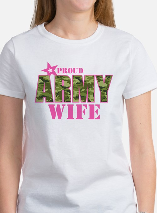 Camo Proud Army Wife Women's T-Shirt