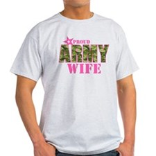 Camo Proud Army Wife T-Shirt