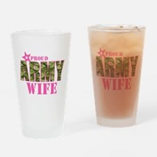 Camo Proud Army Wife Drinking Glass
