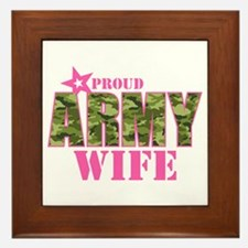 Camo Proud Army Wife Framed Tile