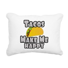 Tacos Make Me Happy Rectangular Canvas Pillow