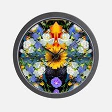Blue & Yellow Wildflower Collage Mandal Wall Clock