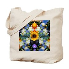 Blue & Yellow Wildflower Collage Mandala  Tote Bag
