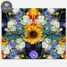 Blue & Yellow Wildflower Collage Mandala on Puzzle
