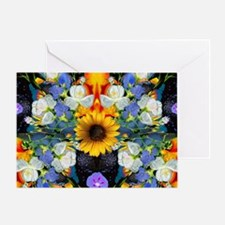 Blue & Yellow Wildflower Collage Man Greeting Card