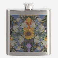 Blue & Yellow Wildflower Collage Mandala on  Flask