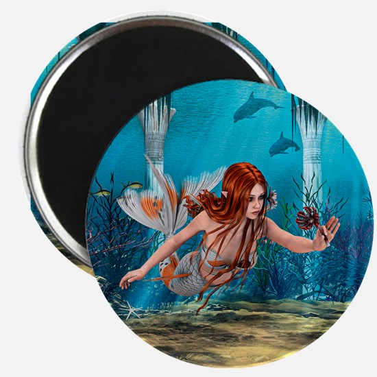 Mermaid holding Sea Lily Magnets