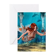 Mermaid holding Sea Lily Greeting Cards