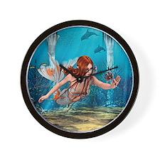 Mermaid holding Sea Lily Wall Clock
