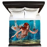 Mermaid holding sea lily Luxe King Duvet Cover