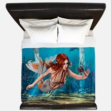 Mermaid holding Sea Lily King Duvet
