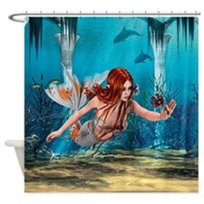 Mermaid holding Sea Lily Shower Curtain
