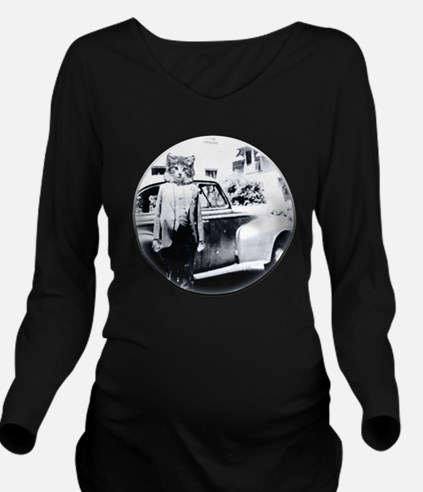 Cat With A Car Long Sleeve Maternity T-Shirt