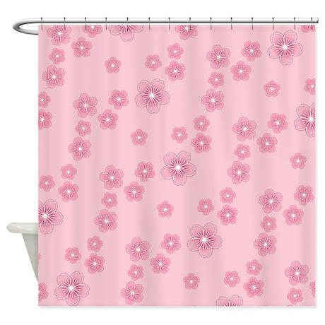 Pink cherry blossoms pattern shower curtain by artandornament