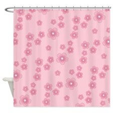 Pink Cherry Blossoms Pattern Shower Curtain