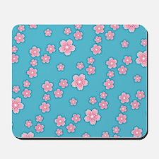 Cherry Blossoms Blue Pattern Mousepad