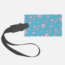 Cherry Blossoms Blue Pattern Luggage Tag