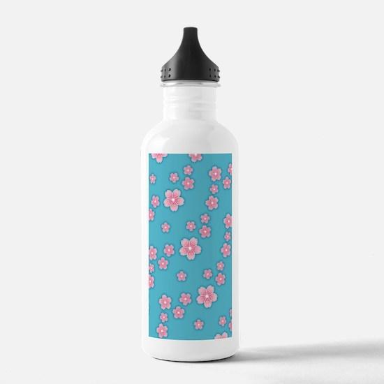 Cherry Blossoms Blue Pattern Water Bottle