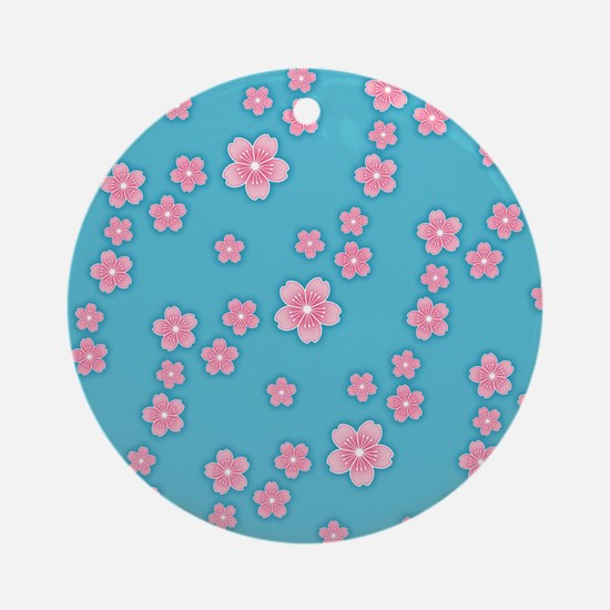 Cherry Blossoms Blue Pattern Ornament (Round)