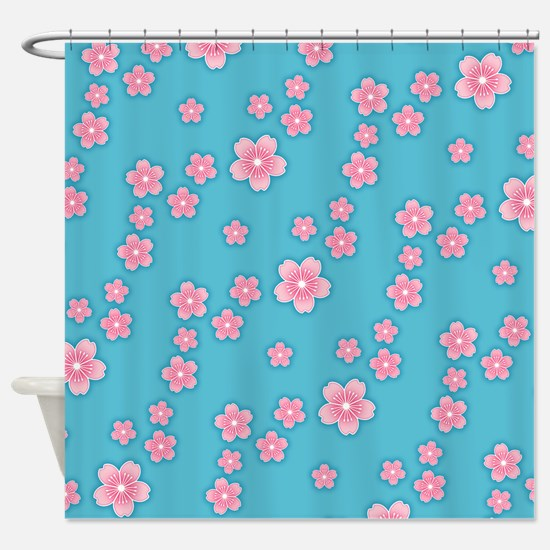 Cherry Blossoms Blue Pattern Shower Curtain